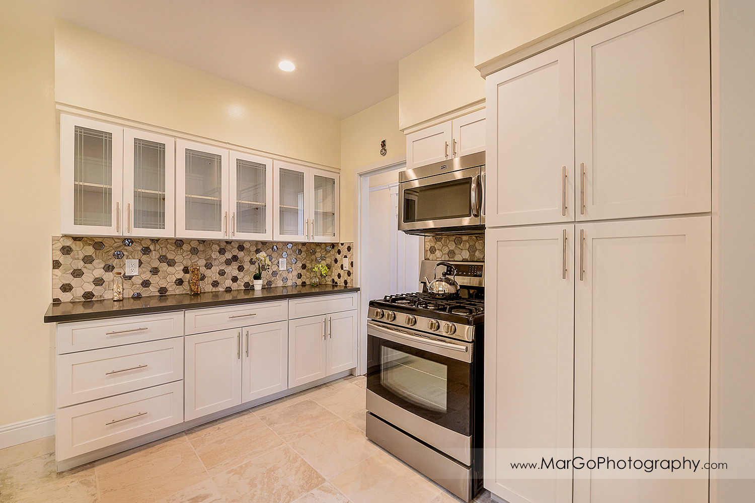 San Francisco house kitchen with view white cabinets - real estate photography