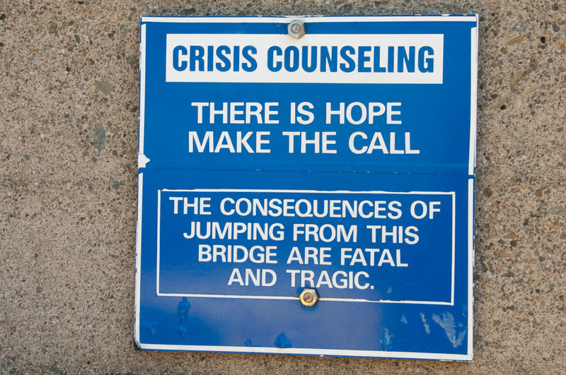 Warning sign in Golden Gate Bridge, San Francisco, California