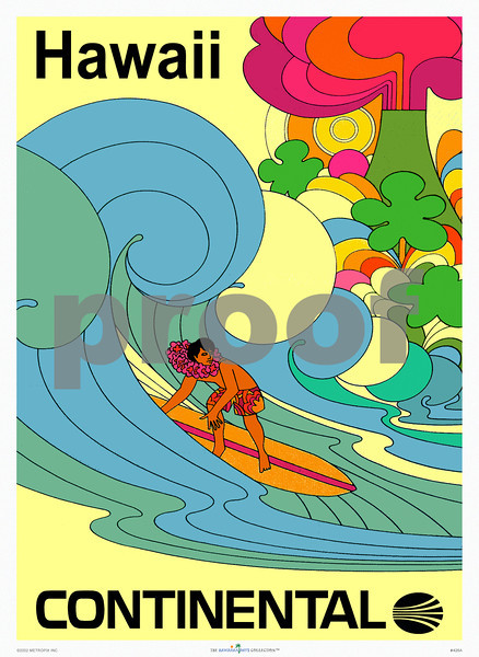 426: A Beatles-cartoon slash Peter Max-inspired, Continental Airlines poster. Early Seventies. (PROOF watermark will not appear on your print)