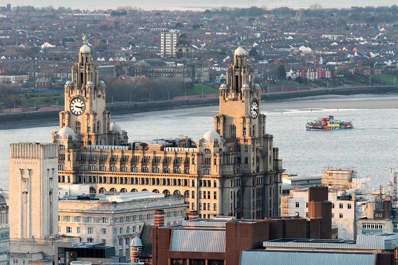 View of the Royal Liver Building, Liverpool and across to the Wirral Peninsular