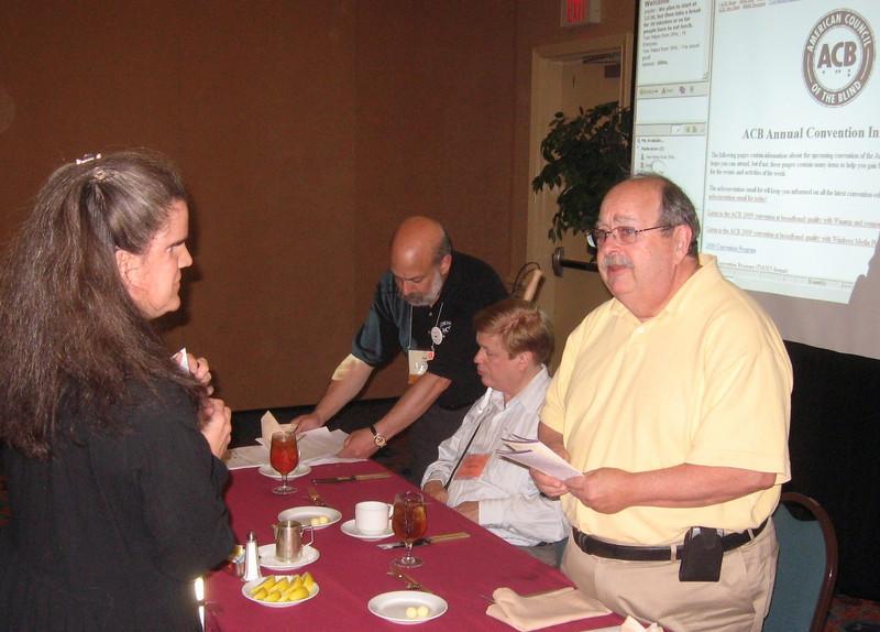 The ADP Gala Luncheon--following Dr. Cronin's presentation, Lisa Helen Hoffman greets Dr. Cronin.
