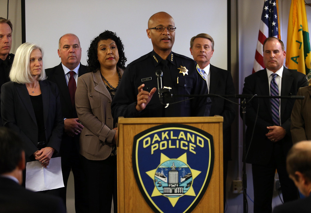 . Oakland Police Chief Howard Jordan speaks during a press conference at the Oakland Emergency Operations Center in Oakland, Calif., on Friday, March 8, 2013. (Jane Tyska/Staff)