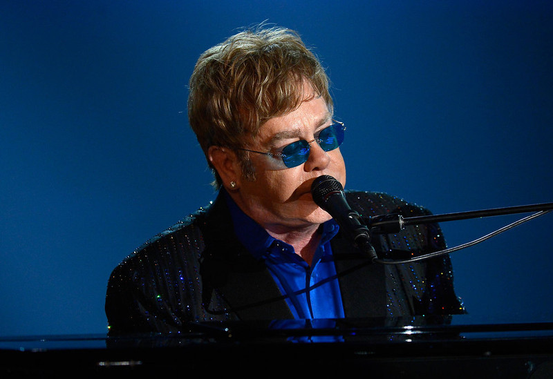 . Musician Sir Elton John performs onstage at the 55th Annual GRAMMY Awards at Staples Center on February 10, 2013 in Los Angeles, California.  (Photo by Kevork Djansezian/Getty Images)
