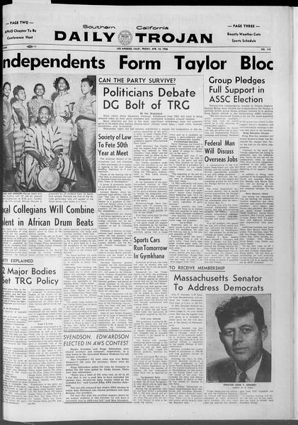 Daily Trojan, Vol. 47, No. 112, April 13, 1956