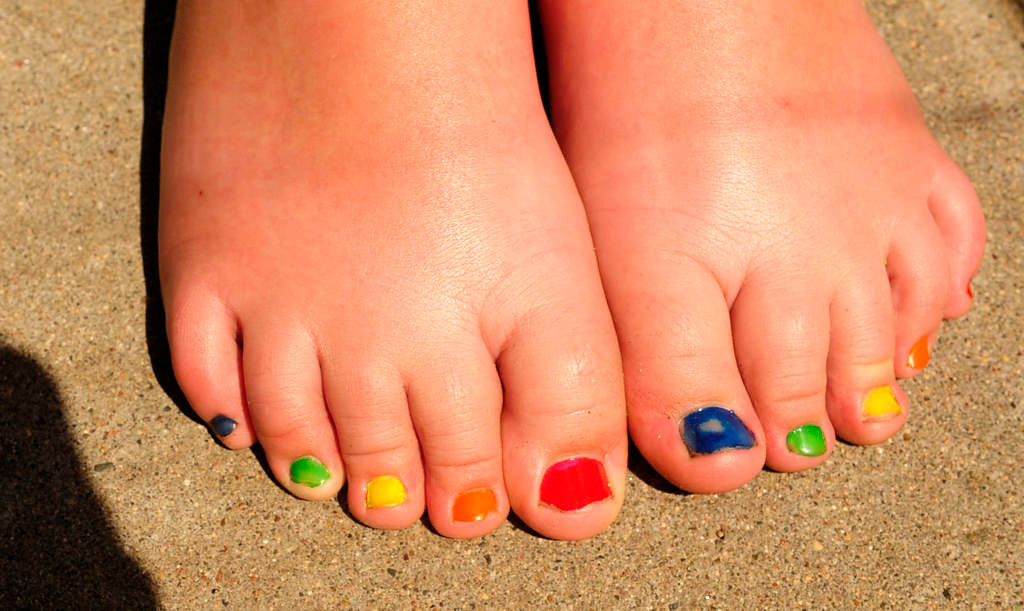 . Emma Zubish, 9, of Robbinsdale painted her toenails in rainbow colors for the annual parade during the Twin Cities Pride Festival. (Pioneer Press: Scott Takushi)