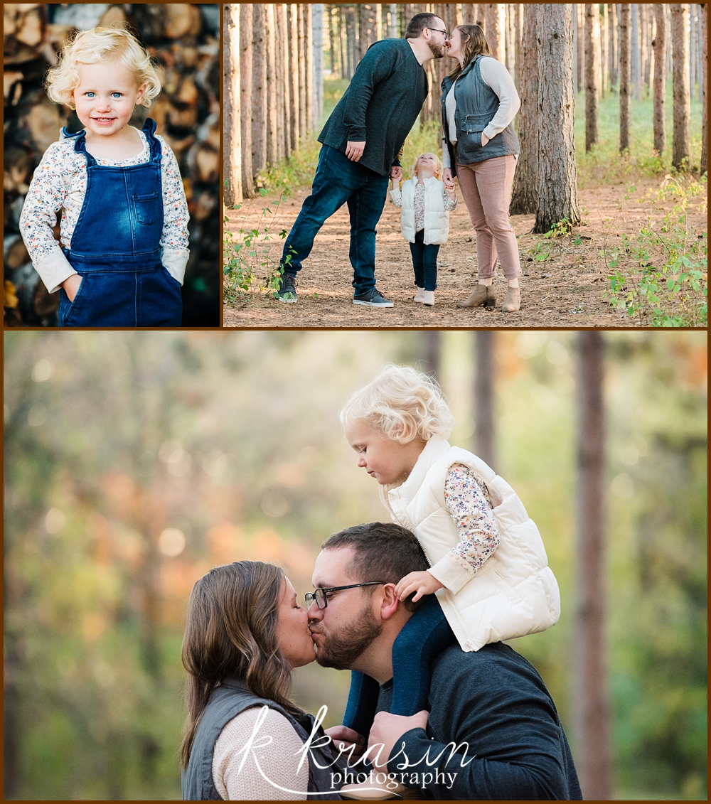 Collage of photos of family including dad, mom, and toddler girl with blonde ringlets
