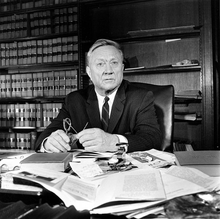. Associate U.S. Supreme Court Justice William O. Douglas is shown at his office desk at the court building in Washigton, D.C., March 27, 1963.  (AP Photo)