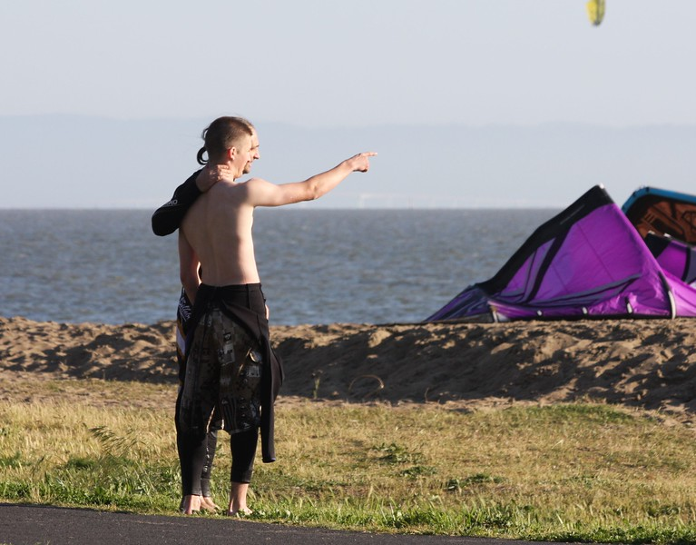Father and son kiting duo