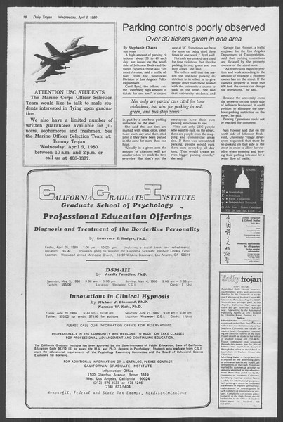 Daily Trojan, Vol. 88, No. 40, April 09, 1980
