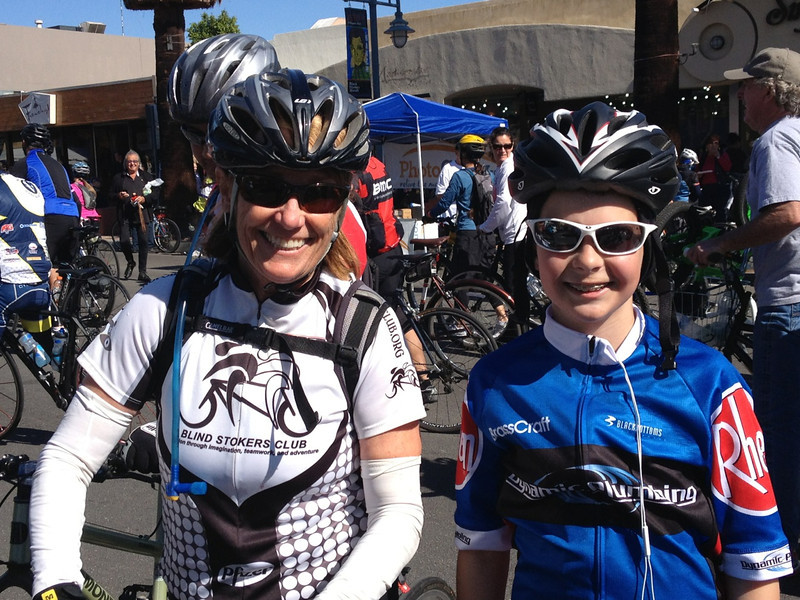 Sue's new 12 year old friend, Chad after completing his first 60 mile bike ride on his new bike.