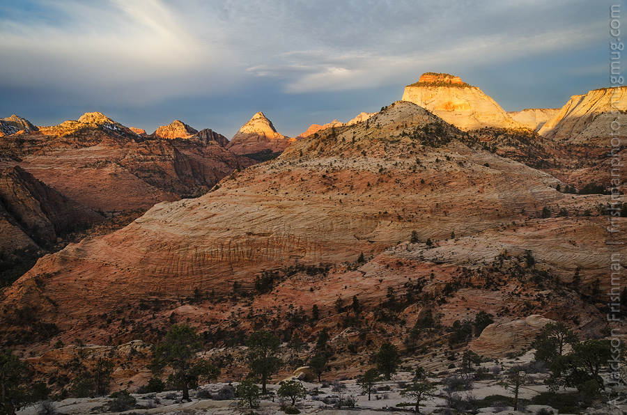Sunrise on the East Temple, Zion National Park, Utah, March 2013.