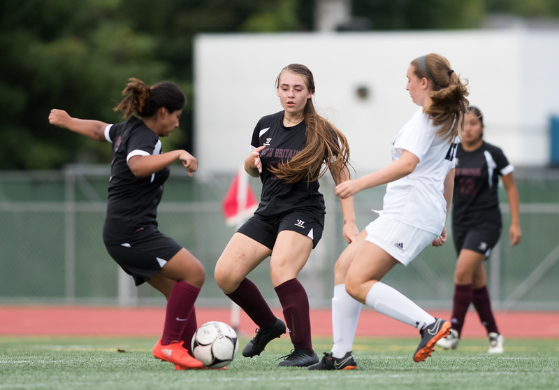 09/11/18  Wesley Bunnell | Staff  New Britain girls soccer was defeated by Wethersfield 8-0 on Tuesday afternoon at Veterans Stadium.  Maya Mlynarska (17), middle,