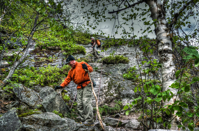 Day 3 of our Temagami Canoe trip we conquered Maple Mountain. The last stretch to the summit ... a ladder and a rock scramble to get to the tower!