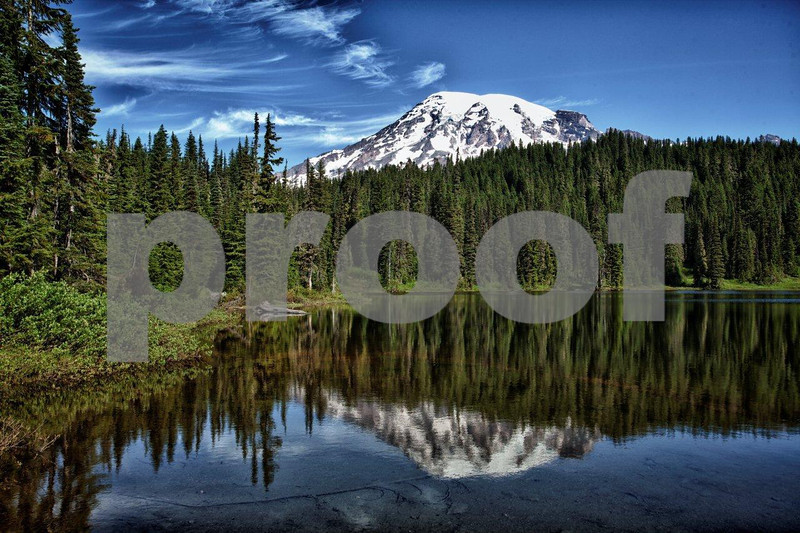 Reflection Lake, so appropriately named, lies at the base of Mt. Rainier. 7729