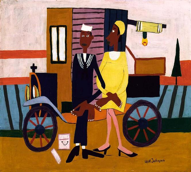 """William H. Johnson, """"Honeymooners"""" (c.1941-44)"""