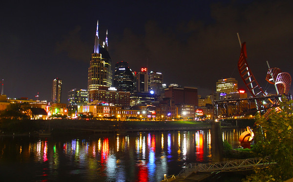 Reflections Of Music City In The Night