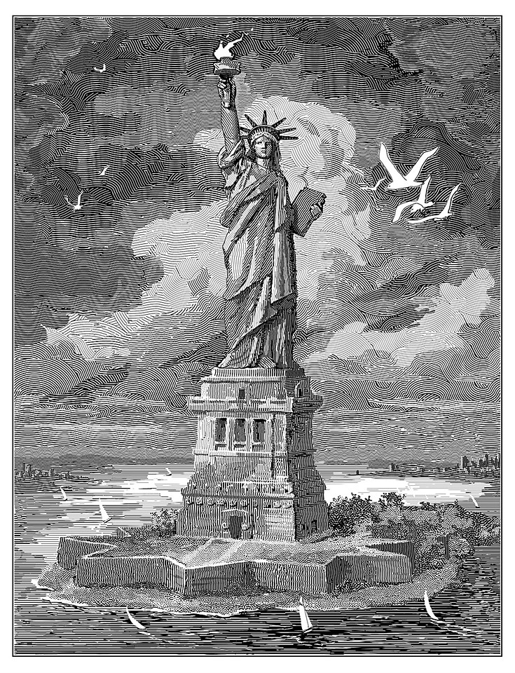 "The Statue of Liberty; drawn for the Claremont Review of Books, c. 2004; the print size was about 9"" x 12""."