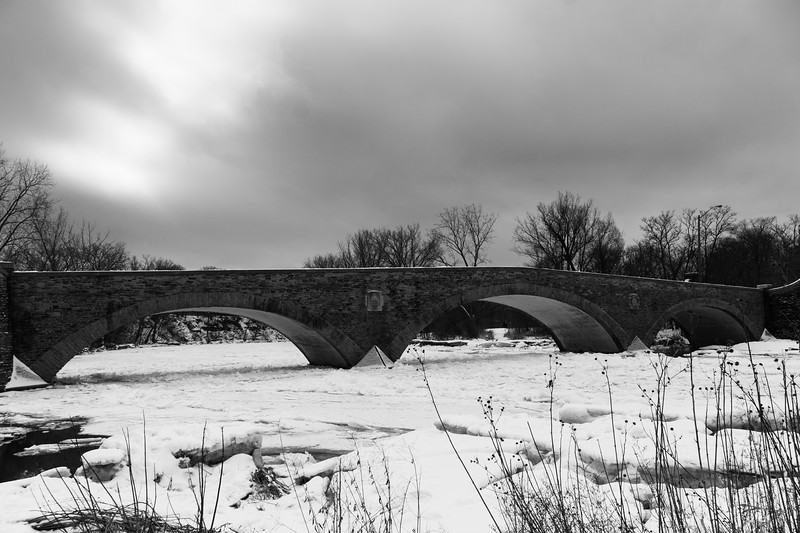 The Old Mill Bridge In Winter