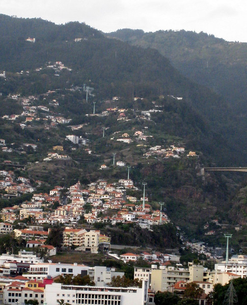 Funchal, Madeira - A distant view of the cable car ride we took up the mountain