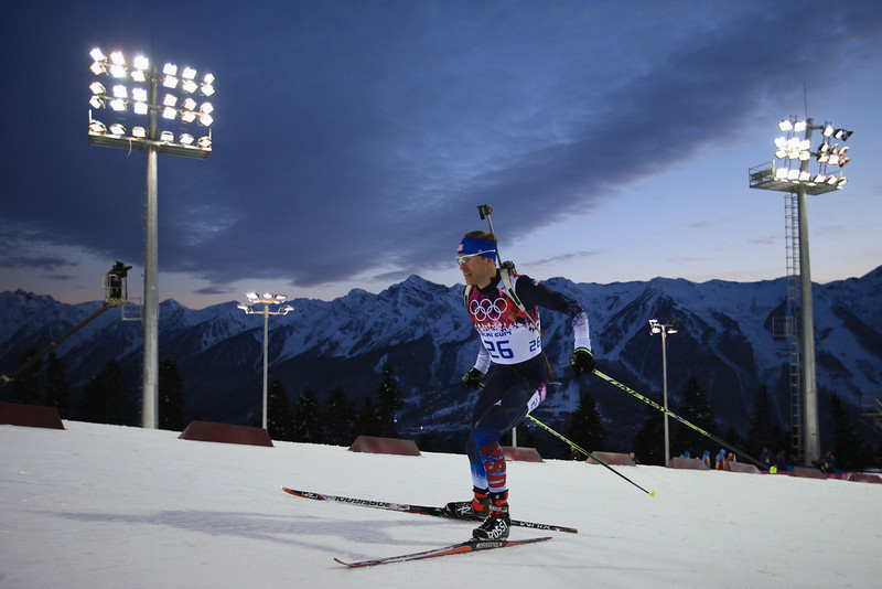 . Lowell Bailey of the United States competes in the Men\'s Sprint 10 km during day one of the Sochi 2014 Winter Olympics at Laura Cross-country Ski & Biathlon Center on February 8, 2014 in Sochi, Russia.  (Photo by Richard Heathcote/Getty Images)