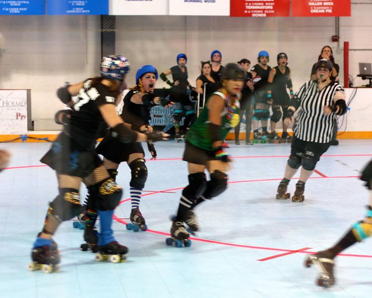 The Long Island Roller Rebels at Skate Safe, Old Bethpage, NY.