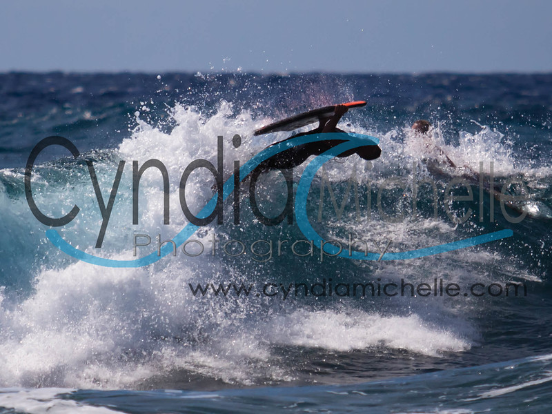 Bodyboarder at Sandy Beach, Oahu, Hawaii on October 14, 2010