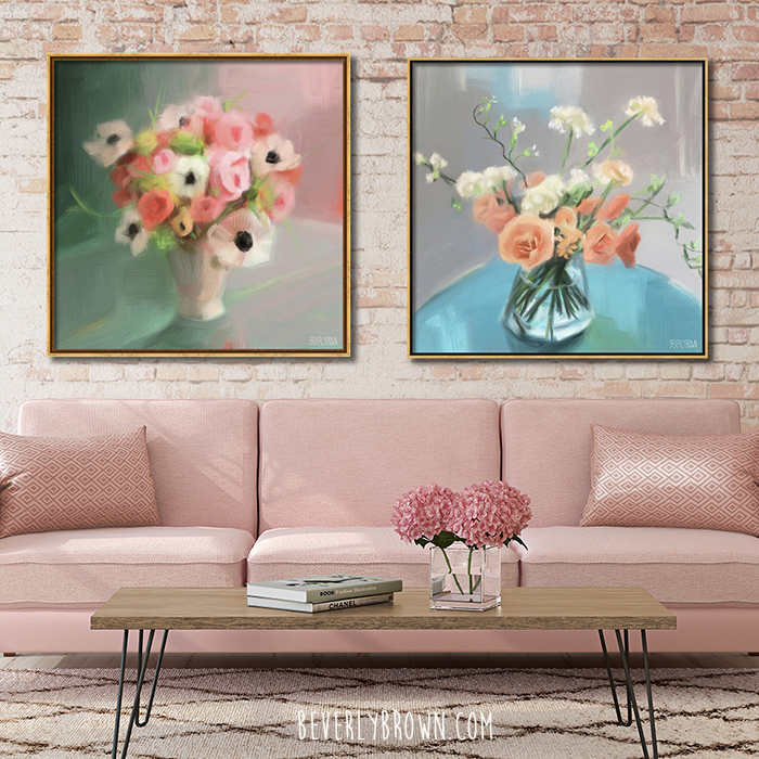 Modern vintage wall art print set in a pink living room over the sofa.