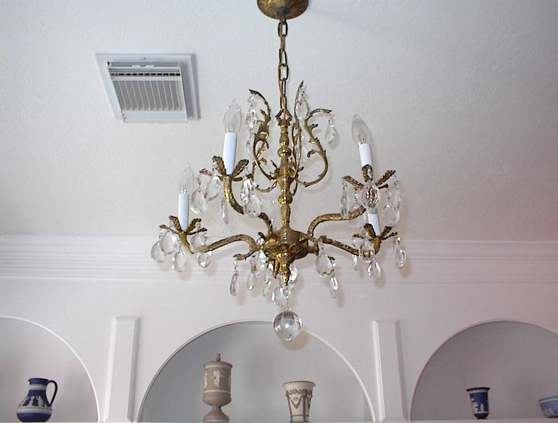 Library - French antique five light crystal chandelier