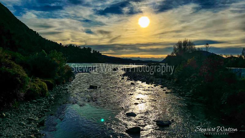 Hokitika River at sunset