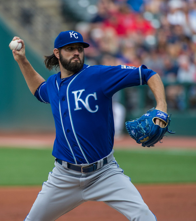 . Kansas City Royals starting pitcher Jason Hammel delivers to Cleveland Indians\' Edwin Encarnacion during the first inning of a baseball game in Cleveland, Saturday, Sept. 16, 2017. (AP Photo/Phil Long)
