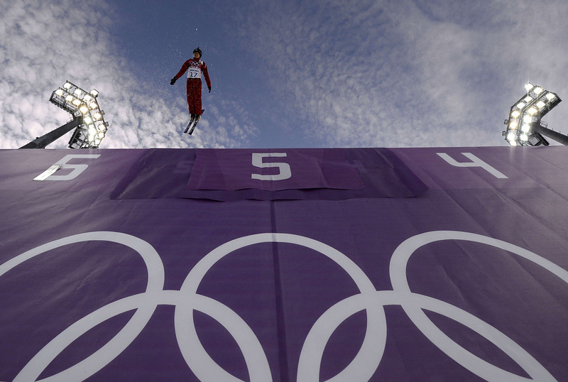 . Russia\'s Assoli Slivets takes a warm-up run before the start of the Women\'s Freestyle Skiing Aerials Qualifications at the Rosa Khutor Extreme Park during the Sochi Winter Olympics on February 14, 2014.  (FRANCK FIFE/AFP/Getty Images)