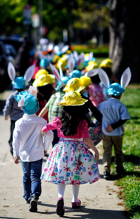 . Kindergartners make their way down Bertrand Ave. during Bertrand Ave. Elementary 40th Kindergarten Spring Bonnet Parade Friday, March 22, 2013 in Reseda. (Hans Gutknecht/Staff Photographer)