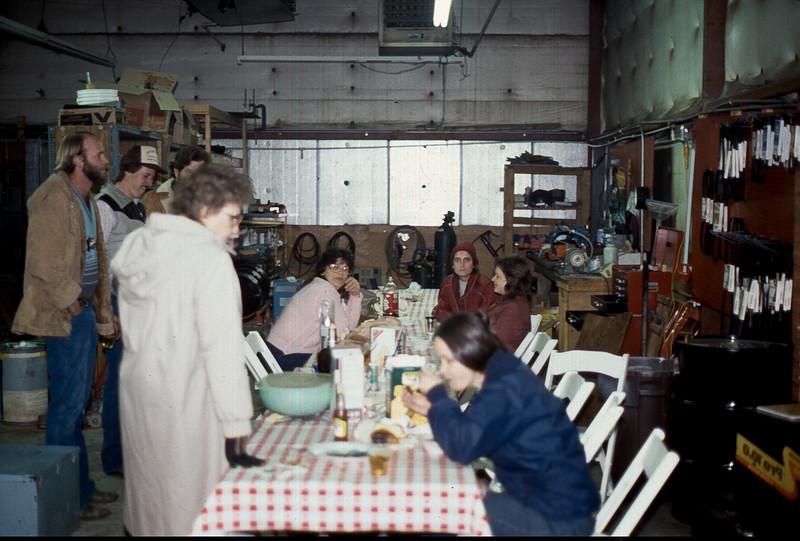 Smock's Carpet Care Christmas Party Joe, John Wick, Jasper, Maria, Barbara, Sue and Cherry 1980's