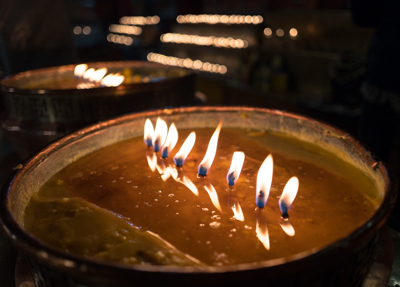 Candles in Ganden Monastery