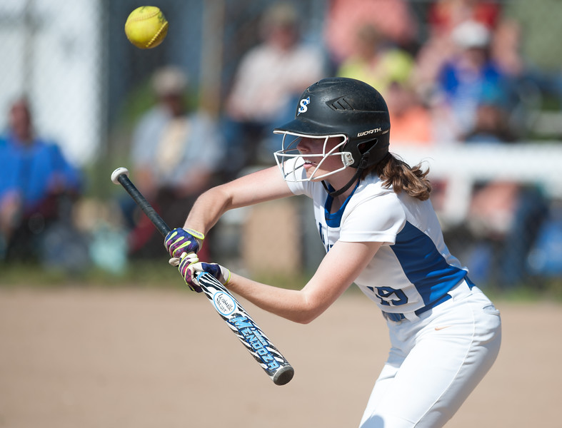 05/30/18  Wesley Bunnell   Staff  Southington softball defeated New Britain 19-1 in a second round Class LL tournament game at Southington on Wednesday afternoon.  Sarah Myrick (19) bunts for a base hit.