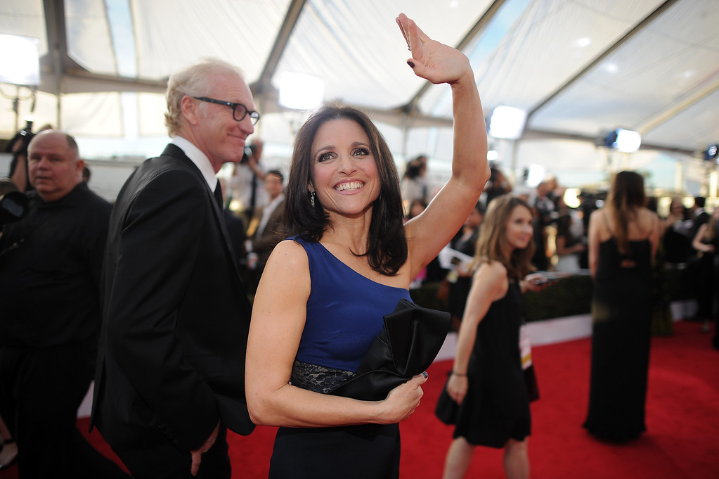 . Julia Louis-Dreyfus on the red carpet at the 20th Annual Screen Actors Guild Awards  at the Shrine Auditorium in Los Angeles, California on Saturday January 18, 2014 (Photo by Hans Gutknecht / Los Angeles Daily News)