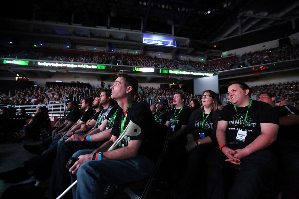 . IMAGE DISTRIBUTED FOR MICROSOFT - Xbox FanFest attendees enjoy the Xbox E3 2017 Briefing on Sunday, June 11, 2017 in Los Angeles. (Photo by Casey Rodgers/Invision for Microsoft/AP Images)