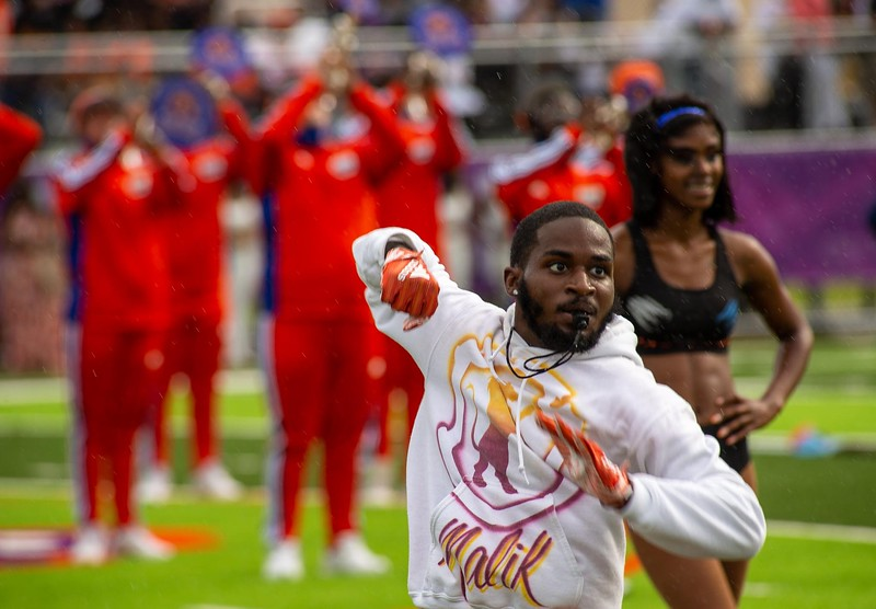A rainstorm was not going to deter the Florida Memorial Marching Roar from its first halftime performance on Saturday, Aug. 28, 2021. (Photo by Will Brown)