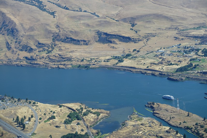 Ethan has enjoyed spotting the paddle-wheel boats on the Columbia River.  We spotted one while flying.