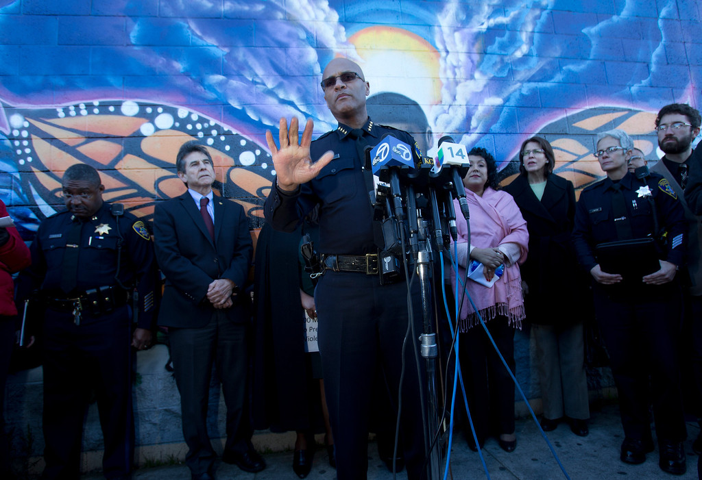 . Oakland Police Chief Howard Jordan, center, speaks to the media at a press conference to discuss the recent spate of gun violence in the city and the police department\'s proposed response, Monday, Jan. 14, 2013 in Oakland, Calif. (D. Ross Cameron/Staff)