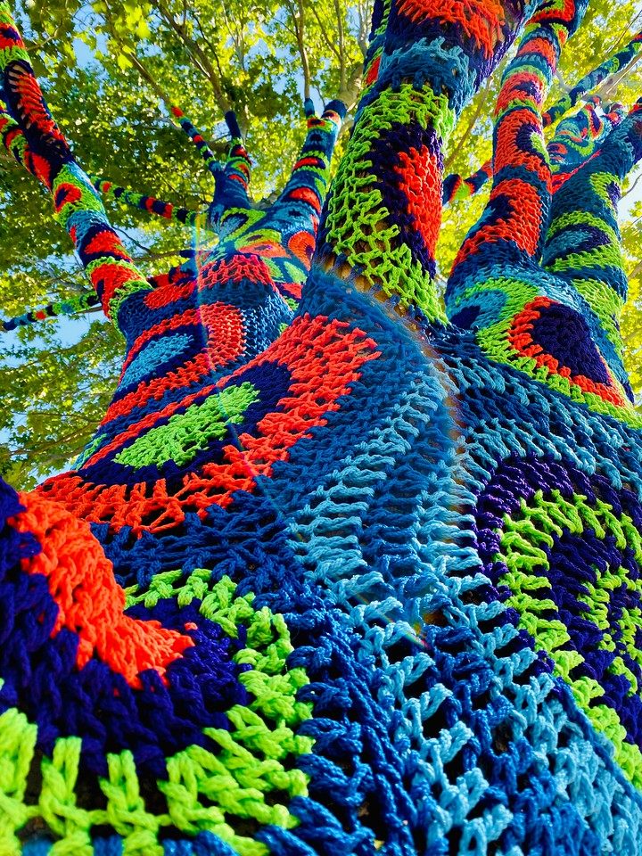 Beautiful colors of the crochet work on the yarnbombed tree