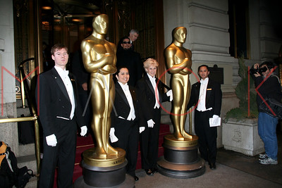 New York, NY - February 21:  The Arrival of the New York Oscar Celebration Statues at The St. Regis Hotel.