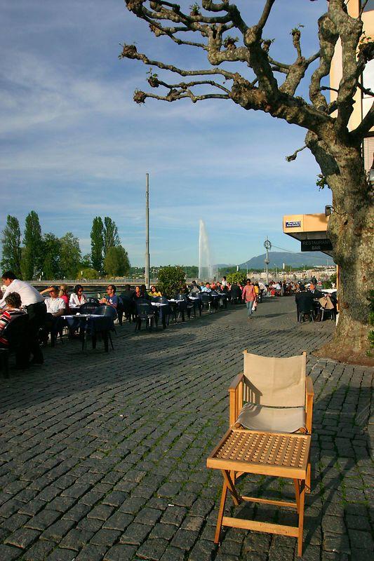 "Typical terrass boarding the ""Rade"" in Geneva, Switzerland."