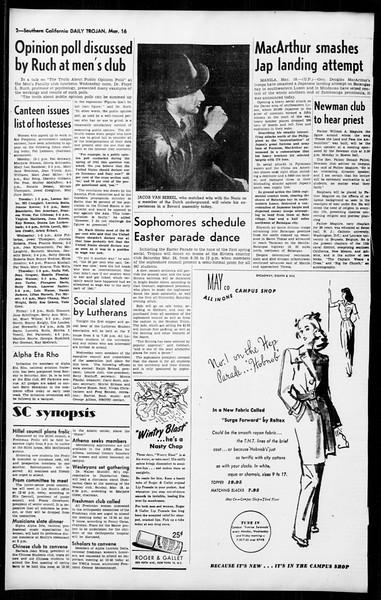 Daily Trojan, Vol. 36, No. 80, March 16, 1945