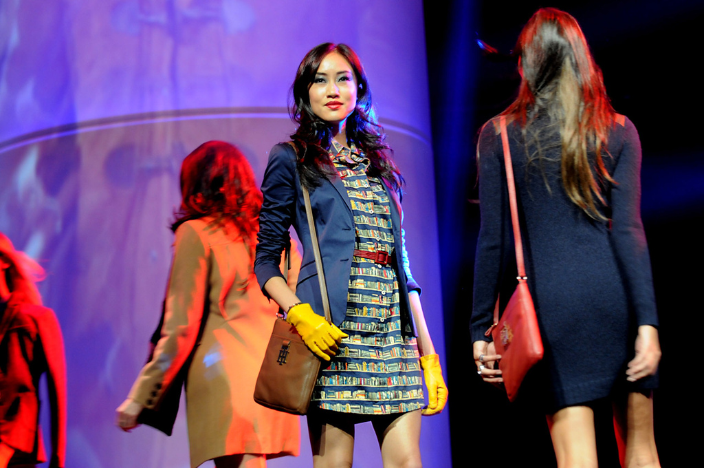 . A model wears a Tommy Hilfiger dress and blazer during the dress rehearsal for the annual Macy\'s Glamorama.   (Pioneer Press: Jean Pieri)