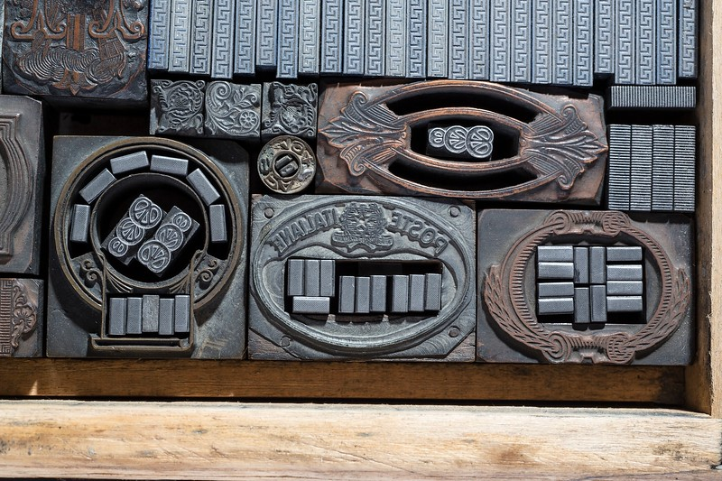 Ornaments, meanders, zinc and electrotypes. 19th and 20th century.