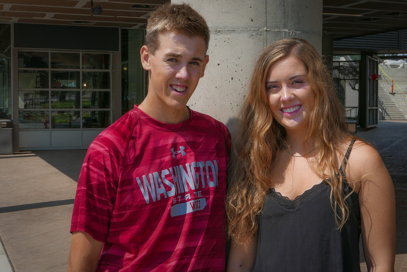 Tyler and Emma in front of Global Scholars Hall.
