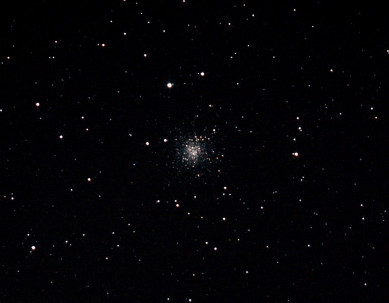Messier M72 - NGC6981 - Globular Cluster in Acquarius - 18/8/2012 (Processed cropped stack)   DeepSkyStacker 3.3.2 Stacked 85% of 16 Images ISO 800 90 Sec, 26 DARK @ 120 Sec, 53 BIAS, 0 FLATS, Post-processed by Photoshop CS5   Telescope - Bintel BT200 f/4.0 Newtonian (borrowed from Stephen Boyd) with Baader MPCC Coma Corrector, Hutech LPS-P2 filter, Canon 40D DSLR field 64'x95', Ambient 10-9C. Mount - Skywatcher NEQ6 Pro. Guidescope - Orion ShortTube 80 with Star Shoot Auto Guider.