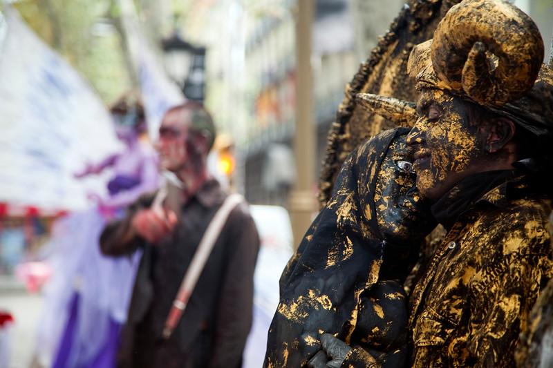 Street performers on Las Ramblas street, town of Barcelona, autonomous commnunity of Catalonia, northeastern Spain