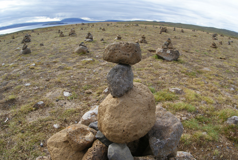 As we got further from Reykjavic (and further inland) the Attache was glowing.  There were rocks everywhere.  Even stacked rocks, like these.  Normally, stacked rocks are nothing to get too excited about.  But...